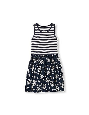 The Children's Place Girls Sleeveless Mixed Stripe And Flower Print Racer-Back Flare