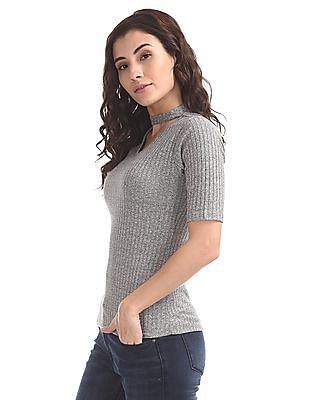Elle Studio Choker Neck Patterned Knit Top