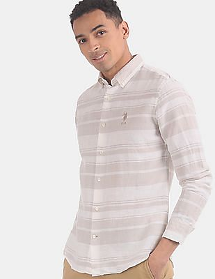 U.S. Polo Assn. Men Beige Horizontal Striped Button Down Collar Casual Shirt