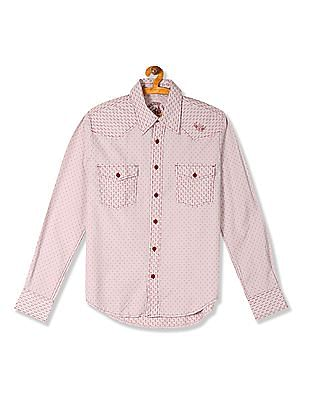 Flying Machine Patterned Weave Cotton Shirt