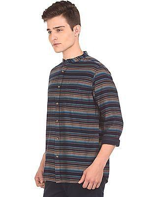 Aeropostale Mandarin Collar Striped Shirt