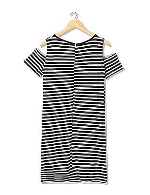 Elle Striped Metallic Cold Shoulder T-Shirt Dress