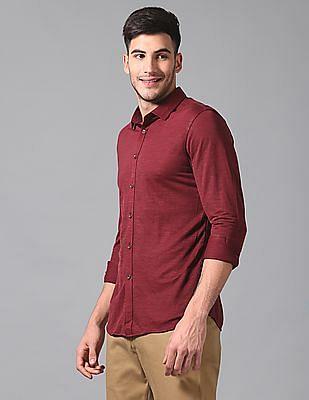True Blue Slim Fit Patterned Weave Shirt