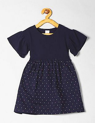 GAP Toddler Girl Ruffle Mix-Fabric Dress