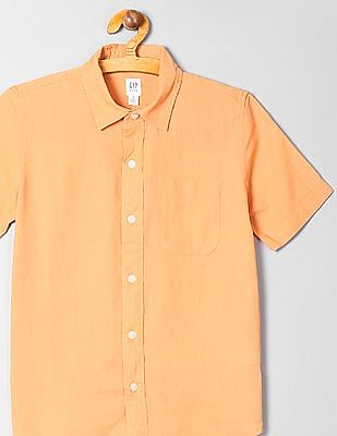 GAP Boys Short Sleeve Linen Cotton Shirt