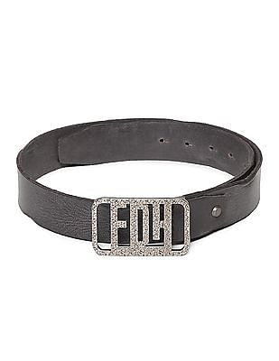Ed Hardy Black Textured Pin Buckle Leather Belt