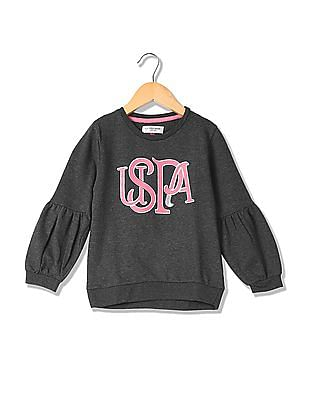 U.S. Polo Assn. Kids Girls Puff Sleeve Sweatshirt