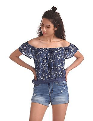 Aeropostale Floral Print Off Shoulder Top