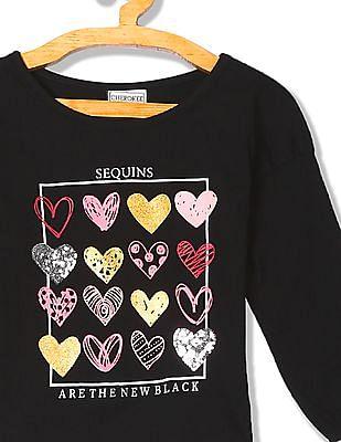 Cherokee Girls Long Sleeve Heart Graphic T-Shirt