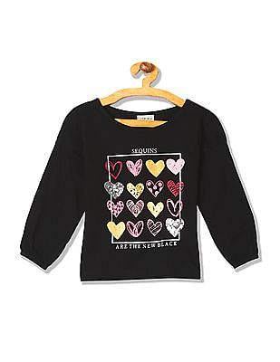 Cherokee Girls Long Sleeve Heart Graphic T-Shirt