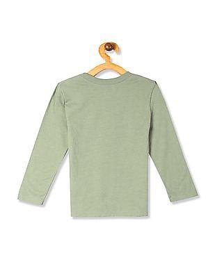 The Children's Place Green Boys Text Print Crew Neck T-Shirt