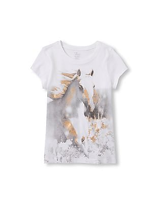 The Children's Place Girls Short Sleeve Photo-Real Graphic Tee