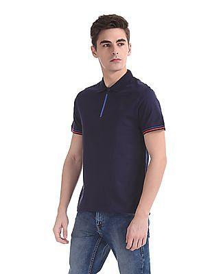 Ed Hardy Slim Fit Zipper Placket Polo Shirt