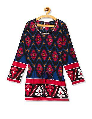 Flying Machine Women Multi Colour Tie Up Waist Printed Top