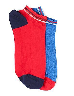 Flying Machine Assorted Colour Block Ankle Socks - Pack Of 2