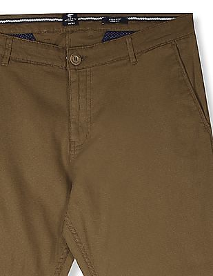 Ruggers Brown Urban Slim Fit Patterned Trousers