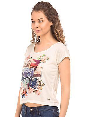 Flying Machine Women Graphic Print Regular Fit T-Shirt