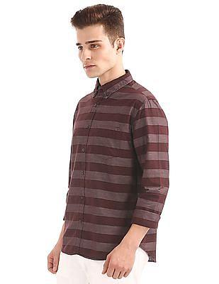 Aeropostale Horizontal Stripe Button Down Shirt