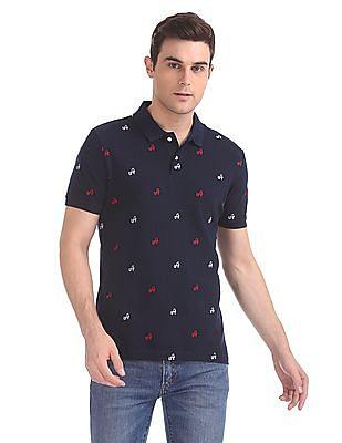 Arrow Sports Printed Pique Polo Shirt