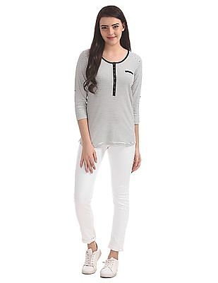 Cherokee Henley Neck Striped Top