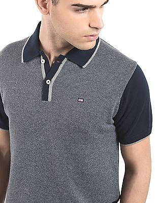 Arrow Sports Colour Block Tipped Polo Shirt
