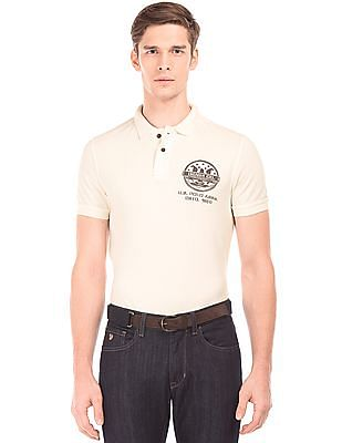 U.S. Polo Assn. Denim Co. Rear Print Muscle Fit Polo Shirt