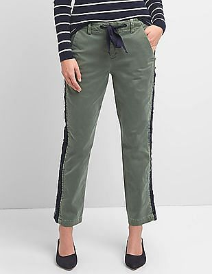 GAP Women Green Girlfriend Chinos With Side Lace Detailing