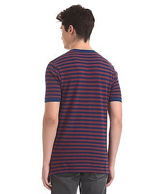 Cherokee Wine And Navy Crew Neck Striped T-Shirt
