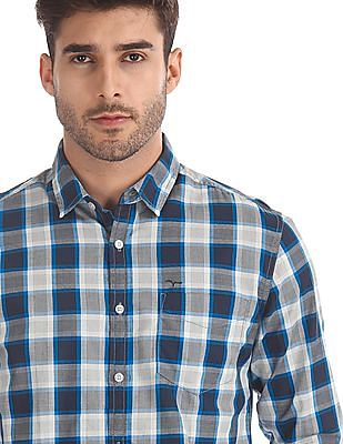 Flying Machine Blue Spread Collar Check Shirt