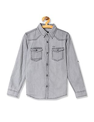 Cherokee Boys Spread Collar Washed Shirt
