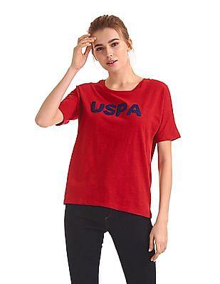 U.S. Polo Assn. Women Appliqued Boxy Top
