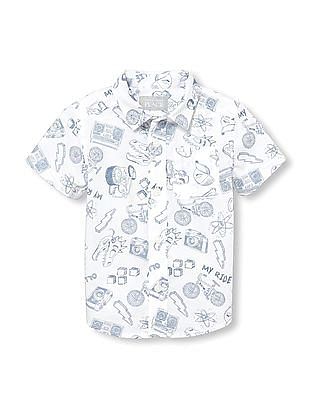 The Children's Place Toddler Boy Short Sleeves Doodle Print Poplin Button-Down Shirt