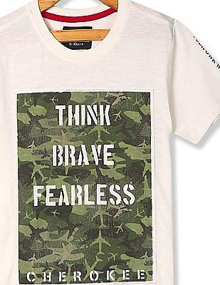 Cherokee White Boys Printed Patch Slub Knit T-Shirt