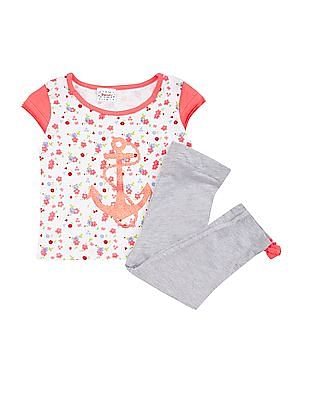 Donuts Girls Printed Top And Leggings Set