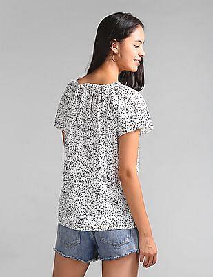 GAP Floral Print Flutter Sleeve Split-Neck Top