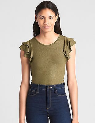GAP Short Ruffled Sleeves Ribbed Top