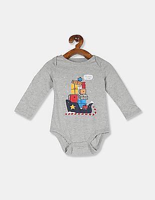 GAP Baby Grey Sleigh Long Sleeve Bodysuit