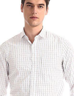 Excalibur White Cutaway Collar Check Shirt