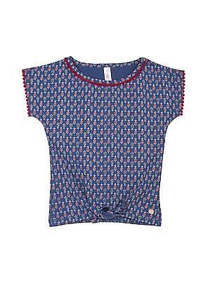 U.S. Polo Assn. Kids Girls Floral Print Cotton Top