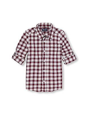 The Children's Place Boys Long Rolled Sleeve Plaid Poplin Button-Down Shirt