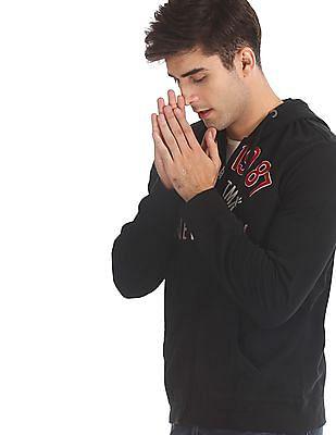 Aeropostale Black Drawstring Hood Brand Applique Sweatshirt