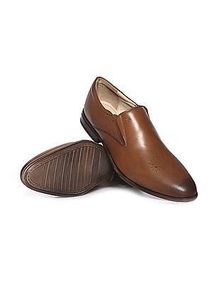 Arrow Burnished Leather Slip On Shoes