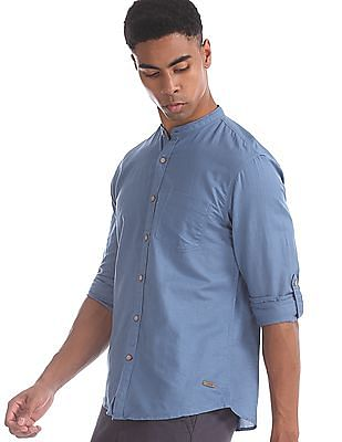 Cherokee Blue Mandarin Collar Solid Shirt