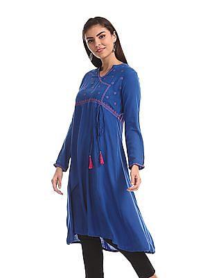 Anahi Blue Embroidered Kalidar Kurta