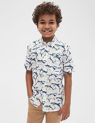 GAP Boys Poplin Print Short Sleeve Shirt