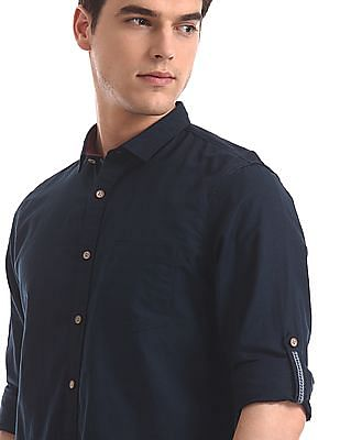 Cherokee Blue Spread Collar Solid Shirt