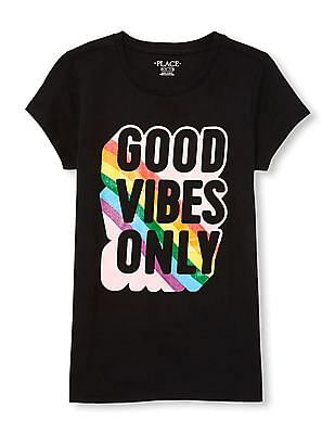 The Children's Place Girls Short Sleeve Glitter 'Good Vibes Only' Graphic Tee