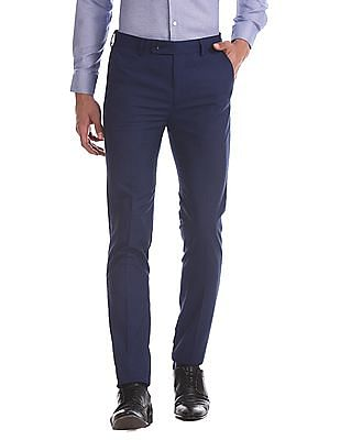 Arrow Blue Slim Fit Check Trousers