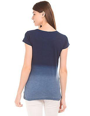 U.S. Polo Assn. Women Distressed Print Dip Dyed T-Shirt