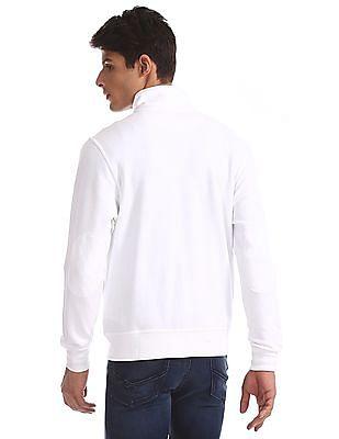 U.S. Polo Assn. White High Neck Zip Up Sweatshirt